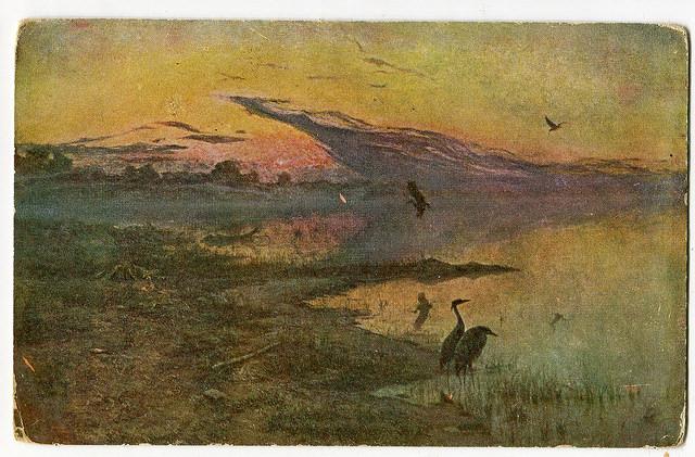Stara Pocztówka, 1921 H. Weyssenhoff Świt na jeziorze (2)