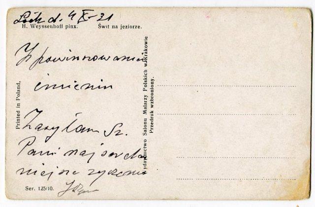 rewers Stara Pocztówka, 1921 H. Weyssenhoff Świt na jeziorze
