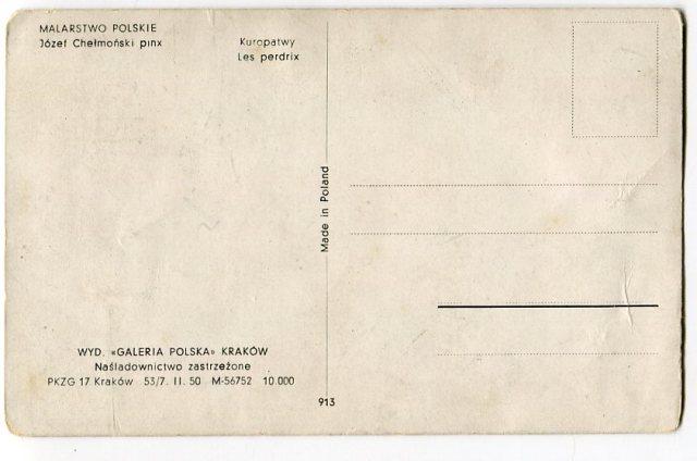 rewers Stara pocztówka, Józef Chełmoński - Kuropatwy , Galeria Polska Kraków