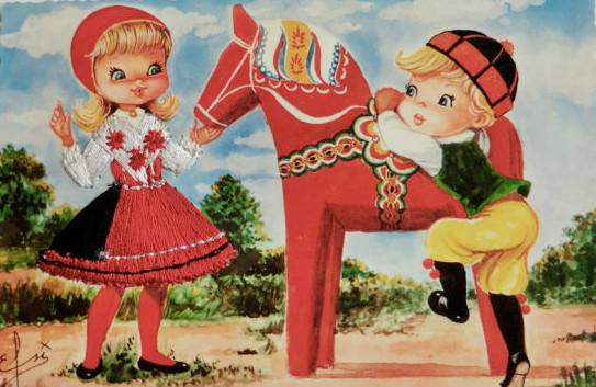 konik z Dalarna i dzieci na pocztówce ilustrowanej, wydanie Colorama, ok. 1950
