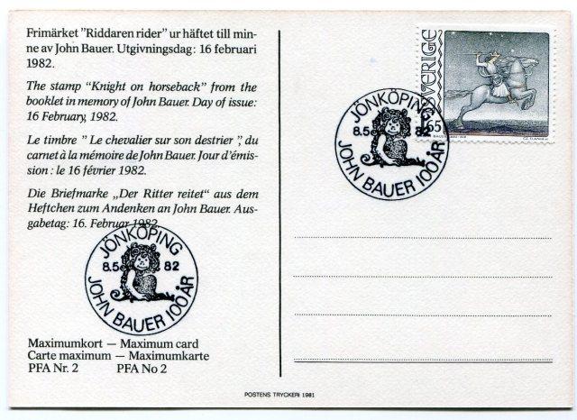 John Bauer Karta Maksimum, Jeździec na Koniu, Czesław Słania, 1982