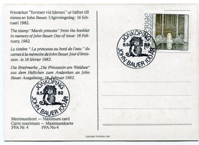 John Bauer, Karta Maksimum, M.Franzen, Księżniczka z Bagien, 1982