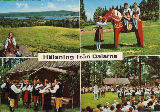 Pozdrowienia z Dalarna, stara pocztówka, c. 1960-1970