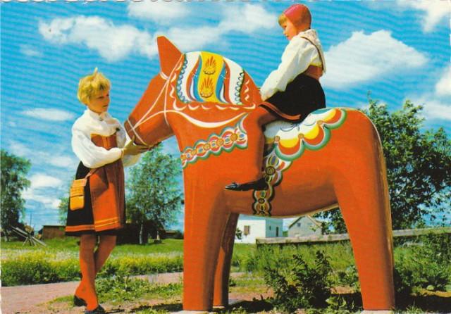konik Dalarna na starej pocztówce, stara pocztówka ok. 1960