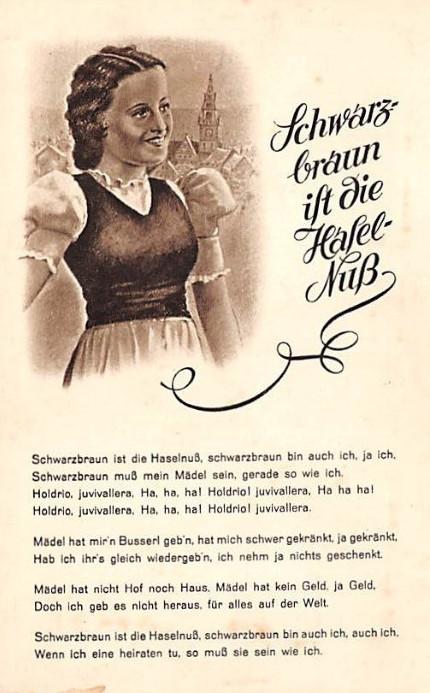 Soldatenlieder auf Postkarten - Schwarzbraun ist die Haselnuss / Piosenki żołnierskie na starych pocztówkach