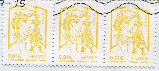 Ciappa et Kawena Marianna, znaczek 0,01 EUR, z bieżącej korespondencji - X..2015