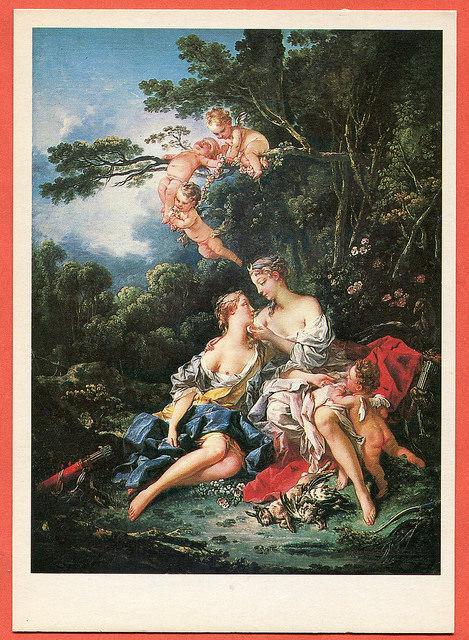 Francois Boucher - Jupiter and Callisto, 1744 (pocztówka radziecka z 1981 roku)