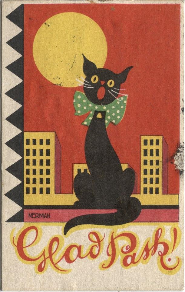 Glad Pask czyli Wesołych Świąt Wielkiej Nocy - stara pocztówka 1937