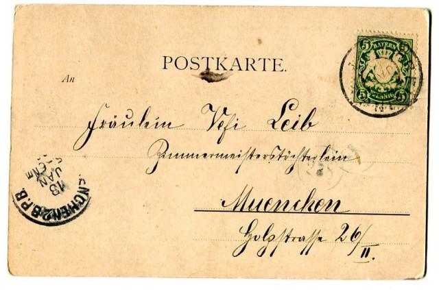 "1900, pocztówka z ""długim adresem"", Hermann Torggler Ein Pensionat (1) Rewers"