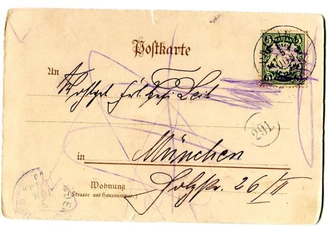 Morgenfahrt, pocztówka z Monachium 1900 rewers