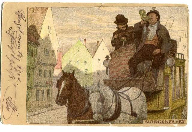 Morgenfahrt, pocztówka z Monachium 1900