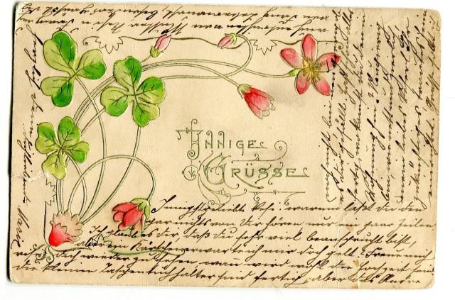 Pocztówka z długim adresem, czterolistna koniczynka na szczęście, Monachium 1902 (1) awers