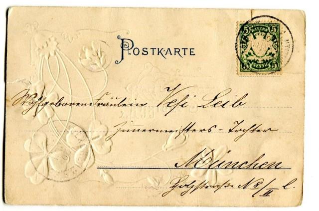 Pocztówka z długim adresem, czterolistna koniczynka na szczęście, Monachium 1902 (2) rewers