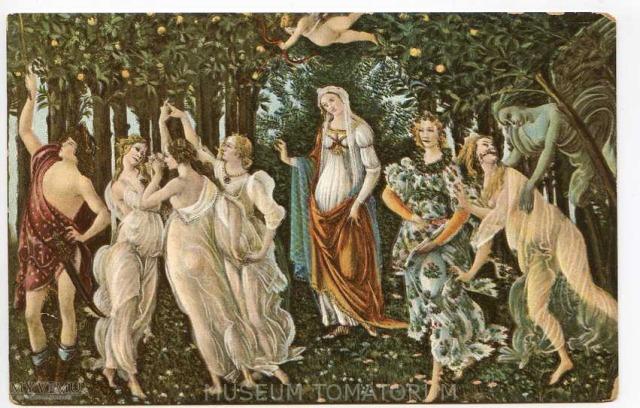 Sandro Botticelli - Wiosna (skan pocztówki: Muzeum Tomatorum, MyViMu)