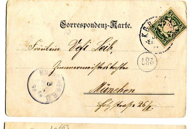 Stara Pocztówka 1898 Karta Korespondencyjna Monachium Secesja  (1) rewers