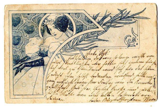 Stara Pocztówka 1898 Karta Korespondencyjna Monachium Secesja  (2)