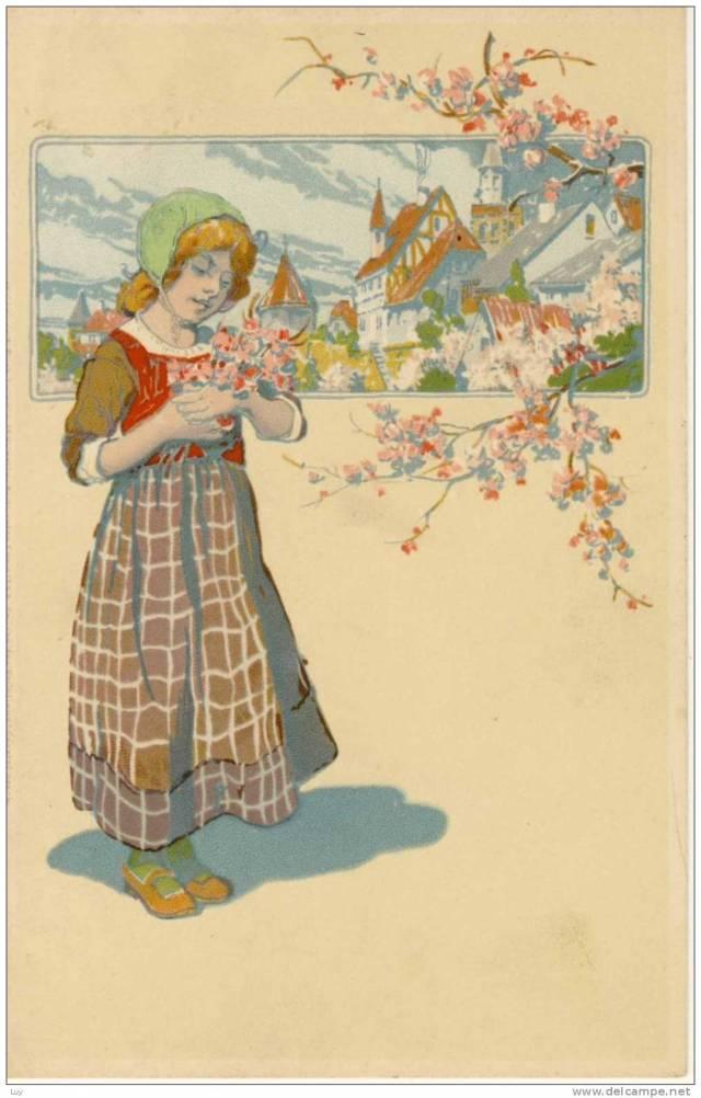 Wiosna, pocztówka z długim adresem (źródło: Luy, delcampe.net)