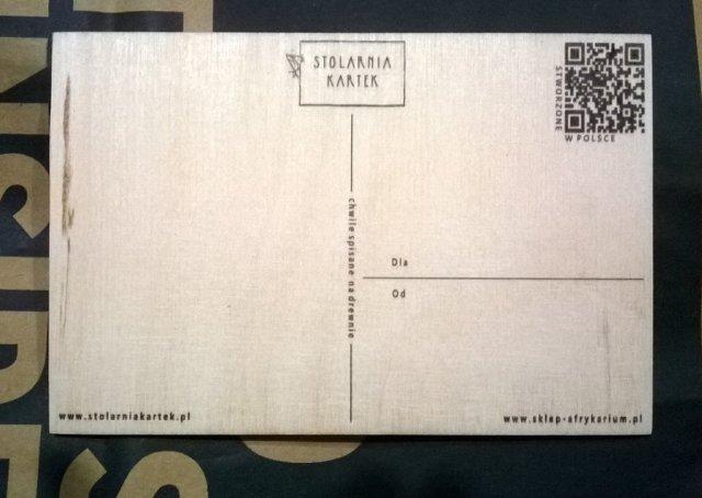 Pocztówka drewniana z Wrocławskiego Afrykarium (rewers)