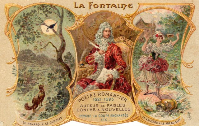 Stara pocztówka, c. 1910 Lis i Kruk, wg bajki Jean'a de la Fontaine'a,