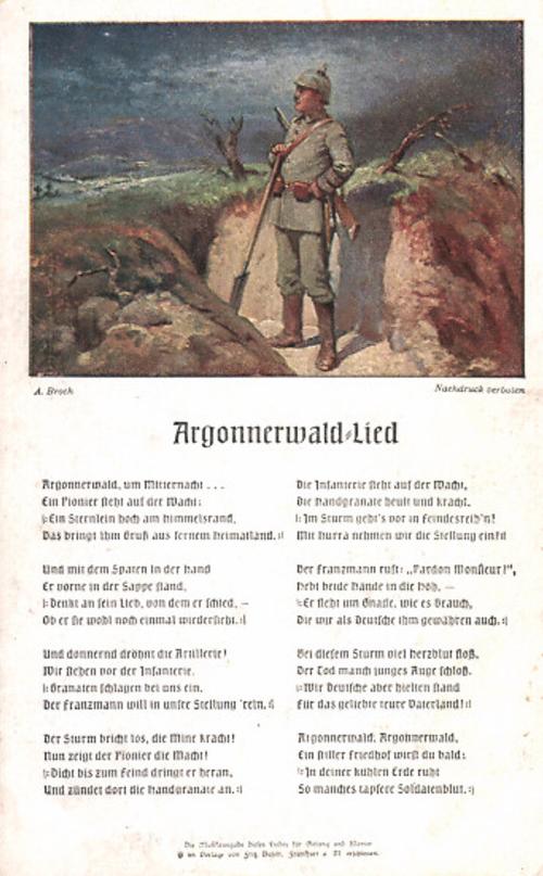 Pocztówka z tekstem piosenki o Lesie Argońskim, (Argonnerwaldlied) c. 1915, bez obiegu
