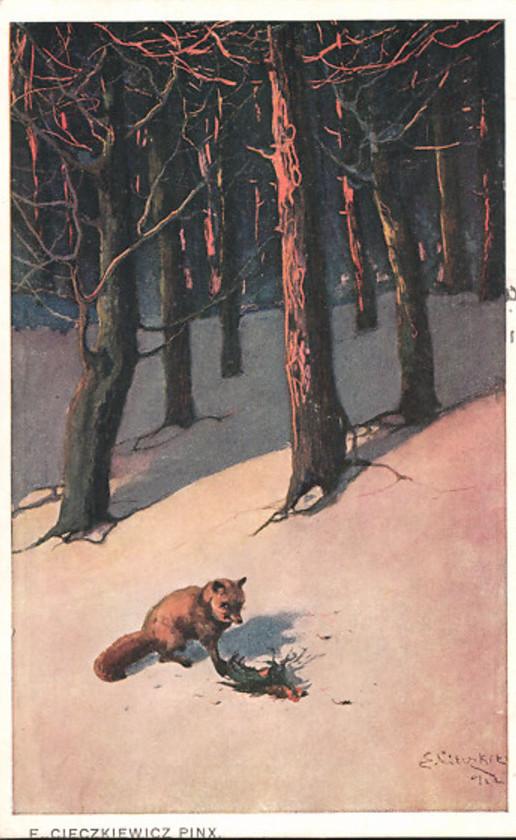 e-cieczkiewicz-lis-na-polowaniu-w-lesie-1915-pocztowka-wydana-w-galicji-zabor-austriacki