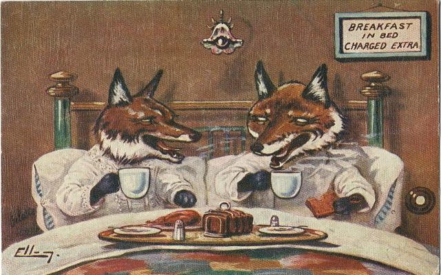 ellam-raphael-tuck-sniadanie-u-lisow-c-1930