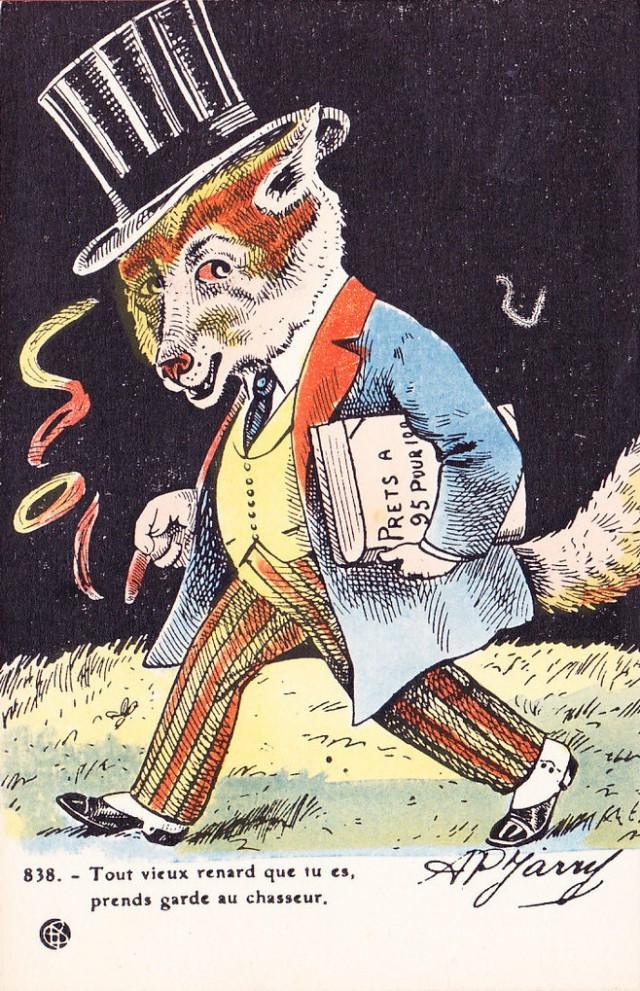 karykatura-lis-bankier-pozyczka-bankowa-1917-le-merlerault-jarry