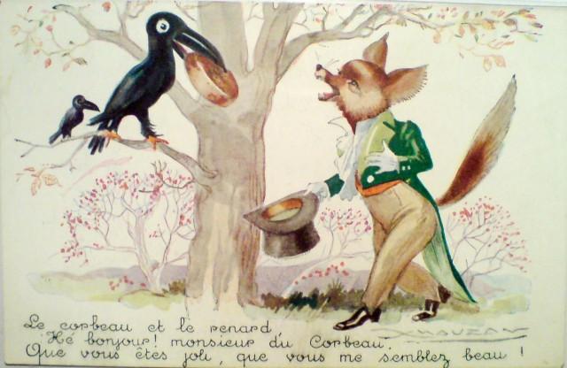 Stara pocztówka, c. 1930 Lis i Kruk, wg bajki Jean'a de la Fontaine'a, autor: Lucien Achille Mauzan
