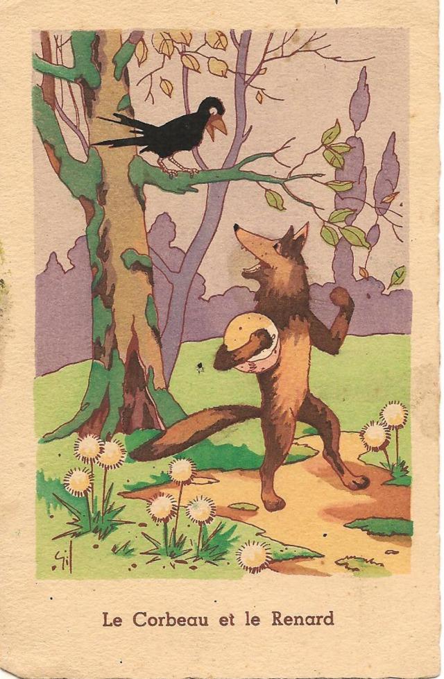 Stara pocztówka, c. 1930 Lis i Kruk, wg bajki Jean'a de la Fontaine'a
