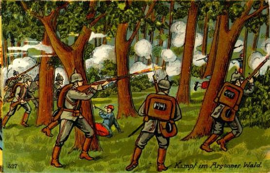 Pocztówka artystyczna przedstawiająca bitwę w Lesie Argońskim, obieg 1916