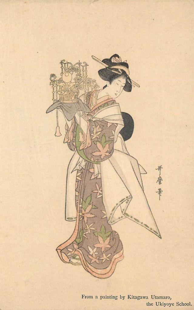 Geisza wg Kitagawa Utamaro Szkoła Ukiyoye - stara pocztówka c. 1910 (2)