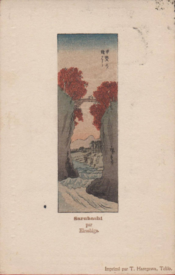 Stara pocztówka japońska c. 1905 Utagawa Hiroshige Koyo Saruhashi Małpi most, prowincja Kai T. Hasegawa Tokio awers