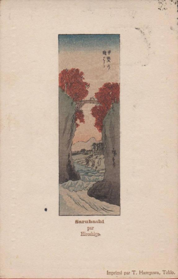 Stara pocztówka japońska c. 1905 Utagawa Hiroshige Koyo Saruhashi Małpi most, prowincja Kai T. Hasegawa Tokio awers