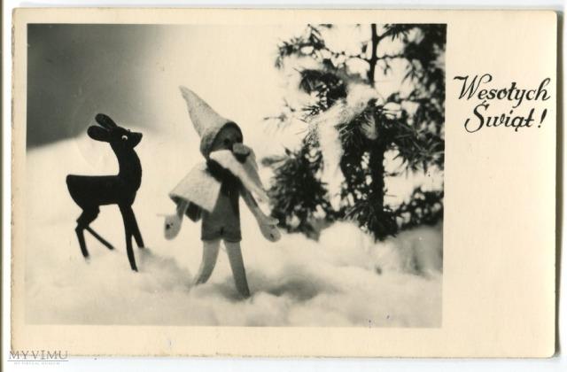 Wesołych Świąt Bożego NArodzenia, pocztówka z PRL 1958